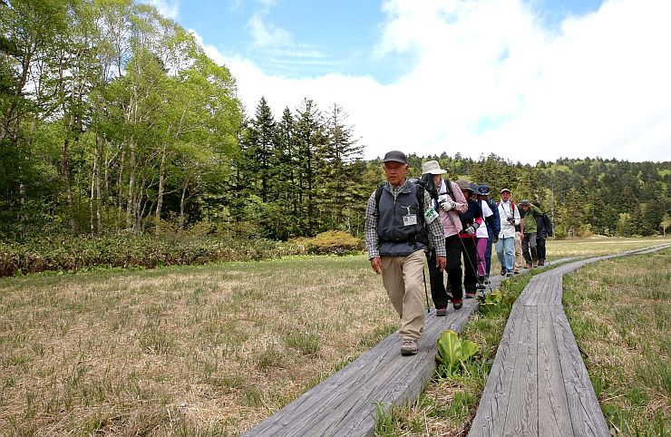湿原を散策する記念登山の参加者=1日、福島県檜枝岐村