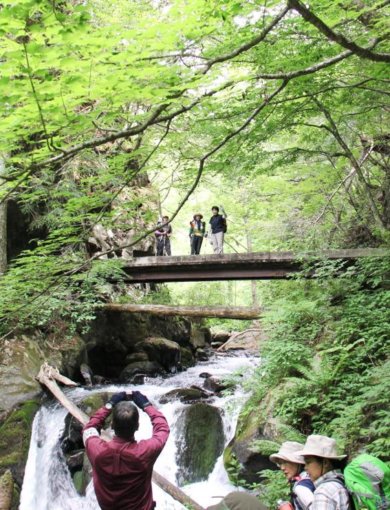 記念山行で写真撮影を楽しむ参加者ら=4日午前9時すぎ、松本市安曇