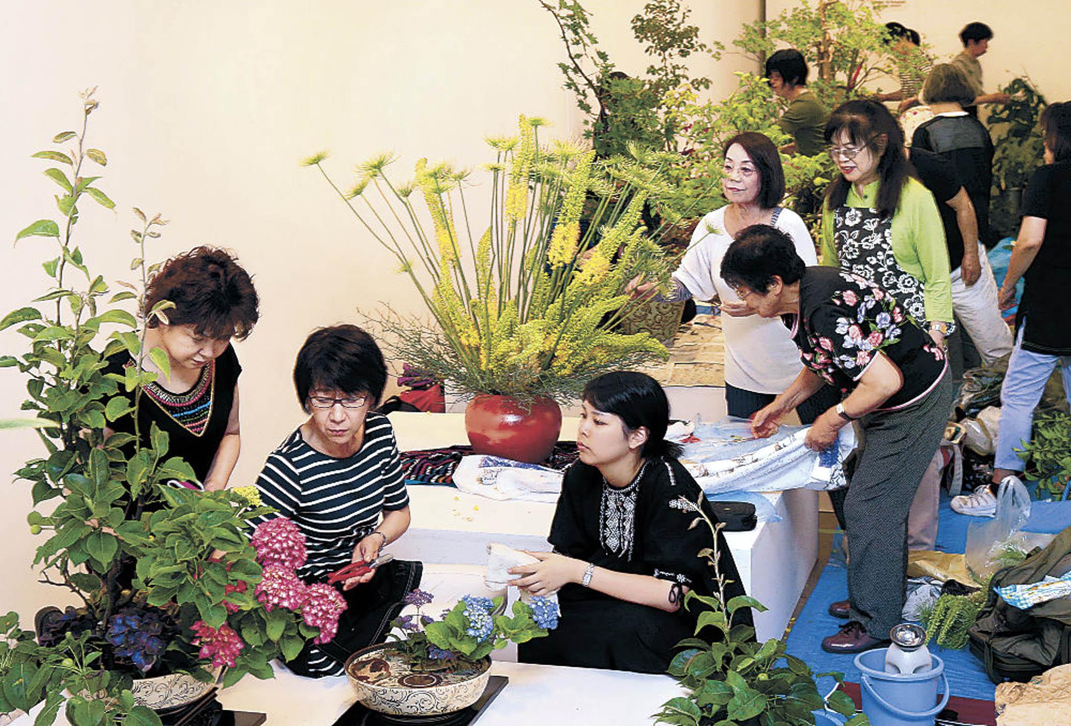 花や木と向き合い、生命力を引き出す華道家=金沢21世紀美術館