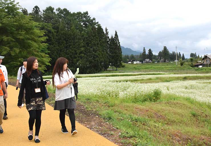 18日に開園する国営アルプスあづみの公園の「里山文化ゾーン」を見て回る安曇野市観光協会の職員ら