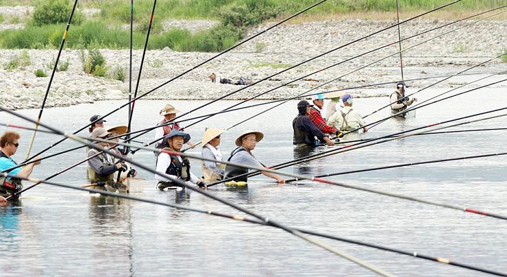 アユ釣りが解禁となり、ずらりと並んで釣り糸を垂れる愛好者=高岡市戸出石代の庄川左岸