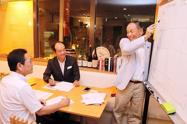 準備委員会で打ち合わせをする中山さん(右)ら=なかやす酒販