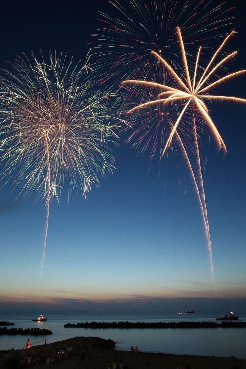 2年前に開かれた「関屋浜海の花火大会」。夜空に開く光の大輪が海辺を彩る=2014年7月
