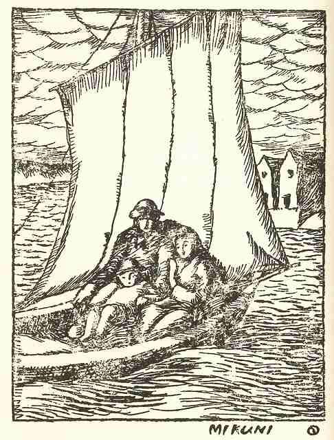 三国での舟遊びの思い出を描いた挿絵(金沢湯涌夢二館提供)