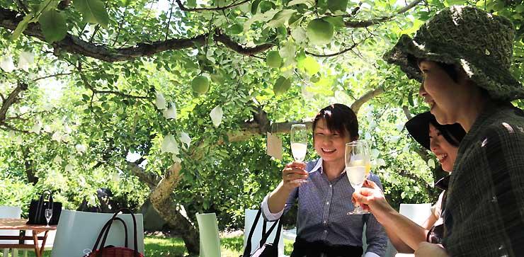 リンゴ園で開いた記念イベントでシードルを味わう参加者たち
