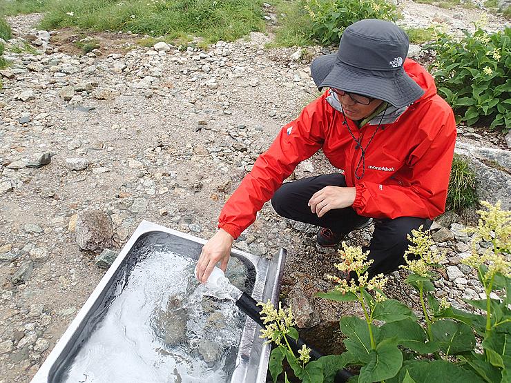 剱沢キャンプ場の水質検査のために採水する山岳監視員=7月27日
