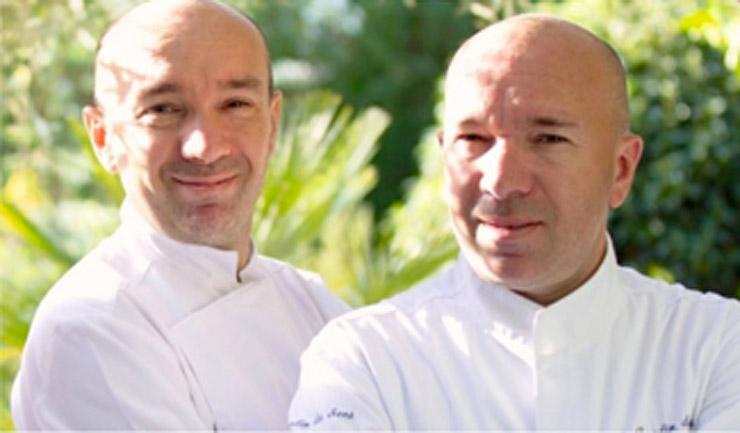 来県するプルセル兄弟のローランさん(左)。右が兄のジャックさん