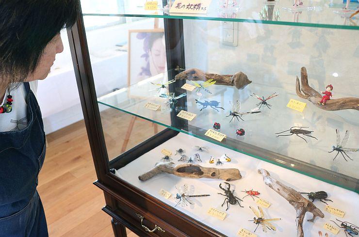 ガラス製の色鮮やかなカブトムシやトンボが並んだ作品展=13日、新潟市西蒲区越前浜