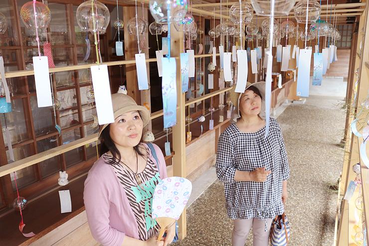 風鈴トンネルを通って楽しむ参拝者=射水市串田、櫛田神社