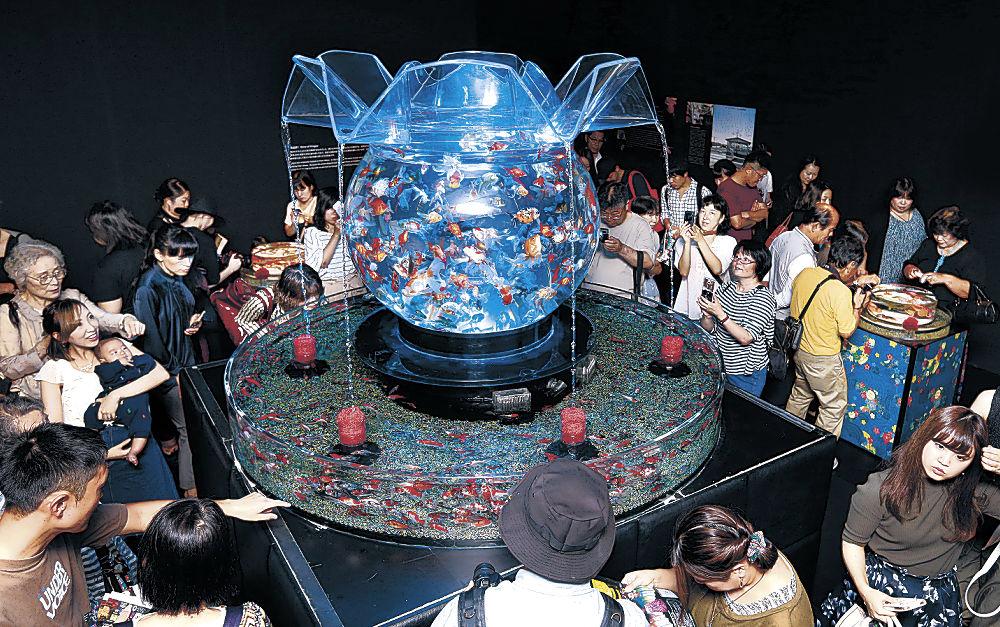 大型水槽で泳ぐ金魚に見入る来場者=金沢21世紀美術館
