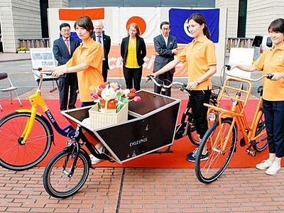オランダの貴重自転車乗ろう 福井市足羽川で試乗会