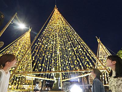 金箔雪吊りきらびやかに 金沢市武蔵地区