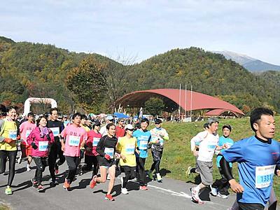 おんたけ湖ハーフに1035人 紅葉の御嶽山麓駆け抜ける