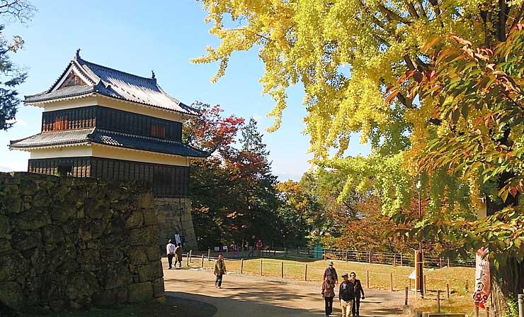 紅葉が見頃を迎えた上田城跡公園=1日、上田市二の丸
