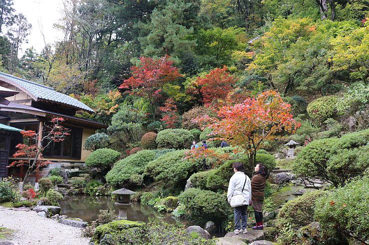 秋の一般公開が始まった普済寺の庭園=1日、村上市大場沢