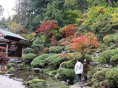 秋色鮮やかに 村上・普済寺 庭園公開始まる