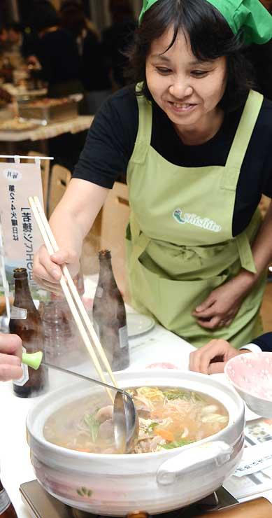 開始のイベントで提供した若穂地区のイノシシ肉を使った「ぼたん鍋」