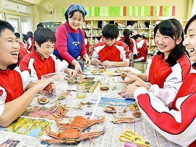 越前がにの食べ方、授業で学ぶ 1人1匹、中学3年生対象