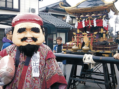七福神、美川を巡る 商売繁盛願い恵比須講