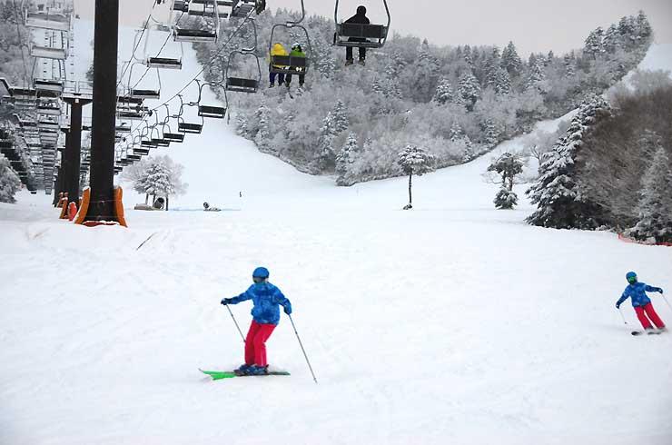 熊の湯スキー場で滑走するスキーヤー