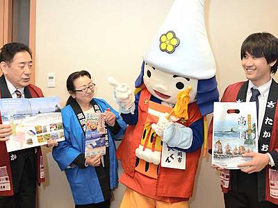 高岡市の「利長くん」長野でPR 北陸新幹線で富山へ
