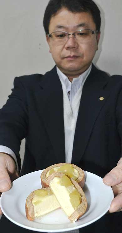 ご当地おやつランキングで1位になった「チーズinタルトバウム信州りんご」