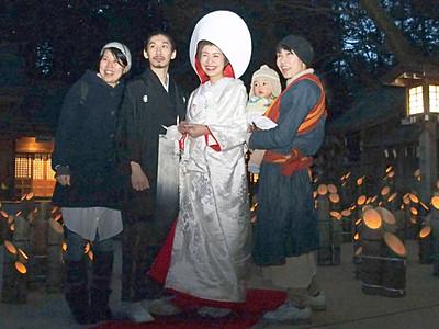 竹灯籠の火で結婚式