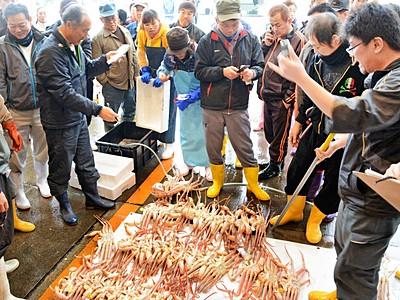越前がに漁最盛期、港町に熱 競り声響く、福井県越前町