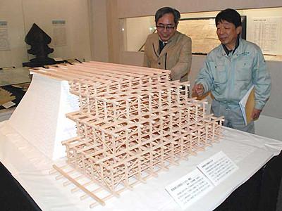 高島城石垣、江戸期の修理再現 諏訪市博物館で立体模型披露