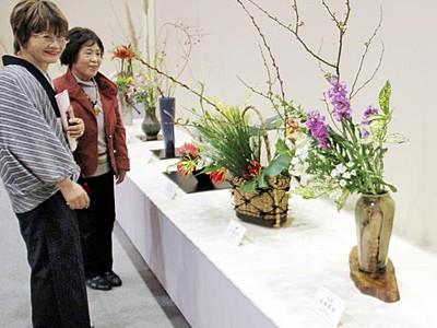 冬感じる生け花一堂に 福井市で10流派が力作披露
