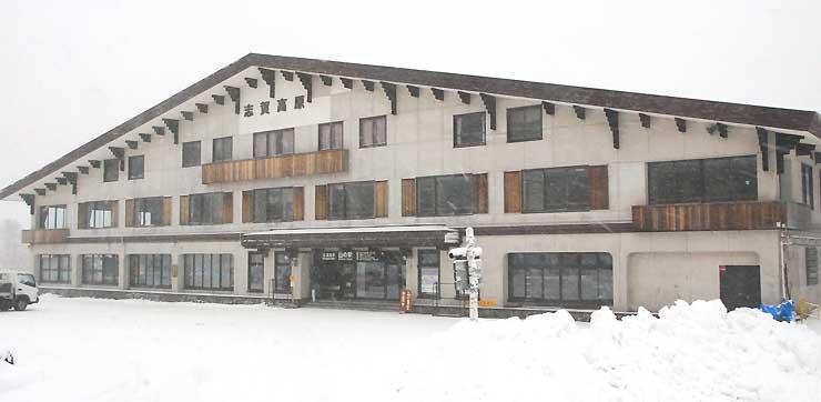 来年夏に「バイカーズパラダイス」を開業する予定の「山の駅」=14日、山ノ内町志賀高原