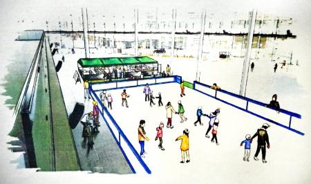 ハピテラスに設置されるスケート場のイメージ図