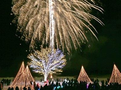 平和の灯 冬の夜空へ 長岡