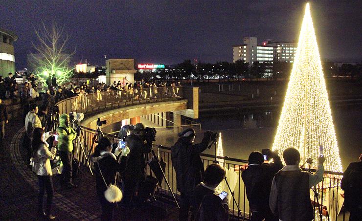 大勢の人々が水面を彩るツリー状のイルミネーションを囲むように集まり、花火が始まるのを待った