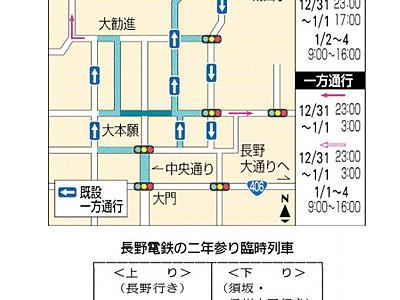 長野県内、二年参りと初詣の交通規制・臨時列車