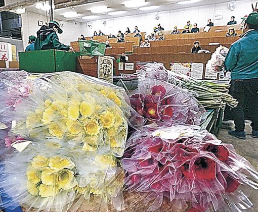 次々と競り落とされる切り花=4日午前7時25分、金沢市公設花き地方卸売市場