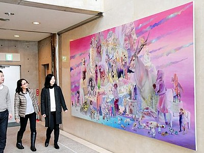 新鋭芸術家熊野さん 鯖江市役所で作品展示