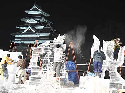 松本城氷彫フェス 最後のコンクールに力作並ぶ