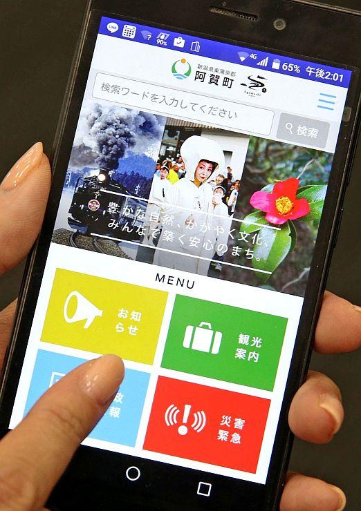 スマートフォンでのトップ画面