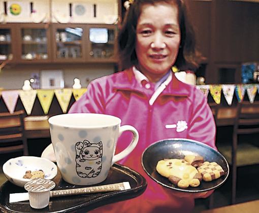 ゆっきーカフェで提供するコーヒーとゆっきークッキー=能美市宮竹町の一歩