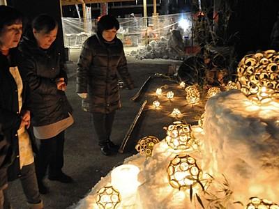 木曽谷にアイスキャンドル 「氷雪の灯祭り」開幕