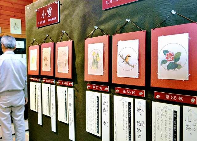 二十四節気にまつわる動植物を描いた絵などが並ぶ展覧会=2日、福井県おおい町名田庄納田終の暦会館
