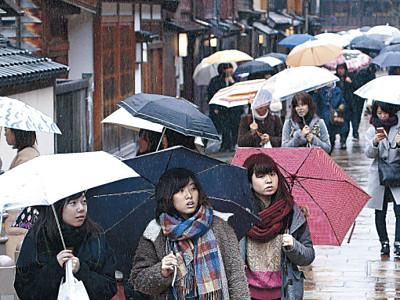 雨の花街、風情求め ひがし茶屋街、春休みの学生が散策