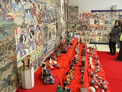 ひな飾りと浮世絵のコラボ展示 江戸時代の風習を再現