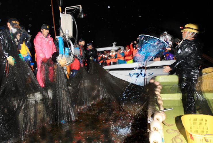 昨年3月19日に行われ、招待客がホタルイカの幻想的な光を楽しんだ「ほたるいか海上観光」の試乗会=滑川沖