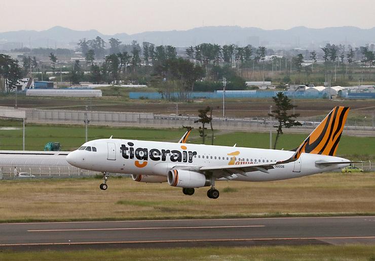 仙台と台北の間で定期運航しているタイガーエア台湾の機体