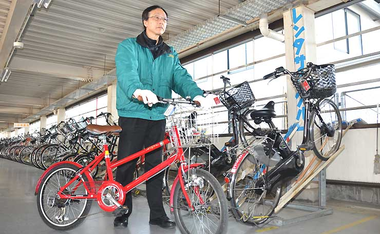 上田駅前の市営お城口駐輪場で無料で貸し出している自転車