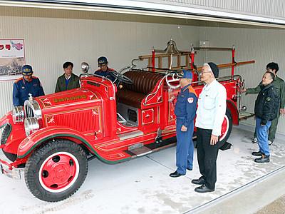 チャンドラ号修復終え公開へ 砺波、県内最古の消防車