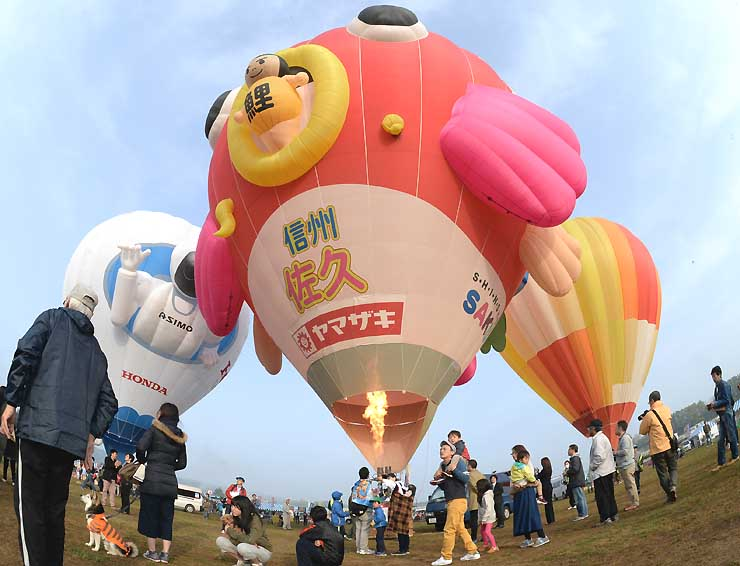 色鮮やかな熱気球が並んだ昨年の佐久バルーンフェスティバル