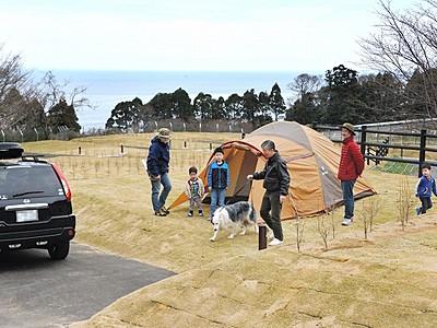 車横付けキャンプ手軽に 福井・ガラガラ山